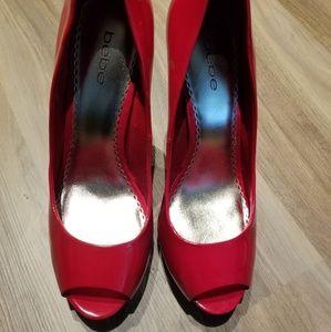 Bebe Open toe Red pumps multi color